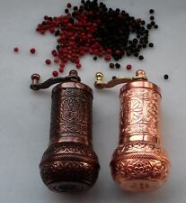 "Turkish Antique Copper & Shiny Copper Pepper Mill Set, 4 "" length, Fat"