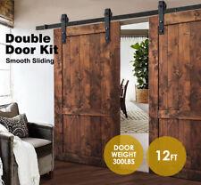 12FT Antique Double Sliding Barn Wood Doors Hardware Roller Track Steel Kit Set