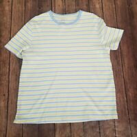 Kim Rogers Womens Blue Yellow Striped Round Neck Short Sleeves Top Size XL