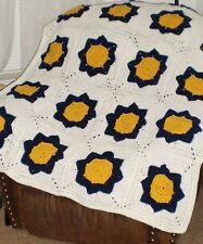 "New Handmade-granny square afghan 46 x 60"" navy blue/gold/white"