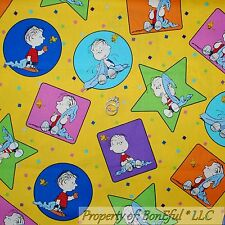 BonEful Fabric FQ Cotton Quilt Yellow Baby Linus Blanket L Charlie Brown Peanuts