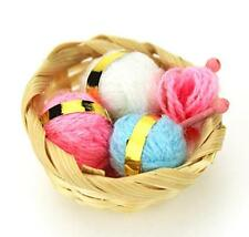 Dollhouse Miniature 1:12 Scale Mini Knitting Wool Balls With Basket Set Craft