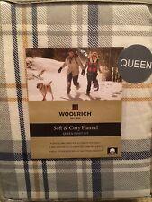 Woolrich Soft & Cozy Flannel Queen Size Sheet Set Blue Plaid
