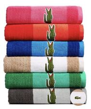 LacosteMatch Cotton Colorblocked Bath Towel Light brown