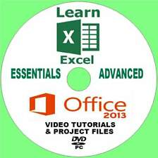 MICROSOFT OFFICE 2013 EXCEL BEGINNERS & ADVANCED TRAINING VIDEOS ON PC-DVD NEW