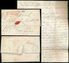 ITALY 1824 PALERMO to GB HUTH...AUTRICHE PAR HUNINGUE BOXED in BROWN FPO ARRIVAL