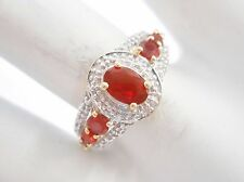 10k Yellow Gold .60 CTW Oval And Round Mexican Fire Opal & Diamond Ring #2988