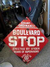 "Rare CALIFORNIA ""Auto Club So Cal"" - Highway SIGN Porcelain ""BOULEVARD STOP"""