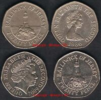 JERSEY 20p 1982 to Date Circulated to UNC - Mintage table in description