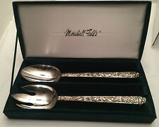 Marshall Field & Co. Steel Serving Set And Pristine Green Velour Box