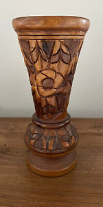 Vintage Hand Carved Multi Color Wood Vase HAND TURNED Boho