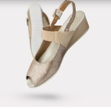Anyi Lu Carina Sand Patent Leather Low Wedge Open Toe Slingback Shoes 41, 10.5
