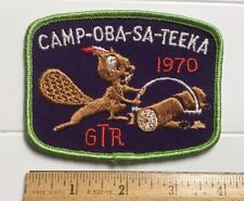 Camp Oba-Sa-Teeka 1970 Squirrel Sawing Log GTR Toronto Canada Scouts Patch