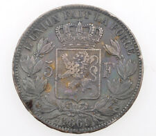 Belgium 5 Francs 1872 Leopold II silver coin           BB+ Exc+++     M085