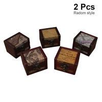 2x Decorative Trinket Jewelry Storage Box Handmade Vintage Wooden Treasur ENN