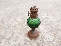 1920s Vintage Original Old Handmade Green Glass Iron Oil Miniature Chimney Lamp
