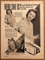 RARE Vintage 1941 LUX Toilet Soap AD Barbara Stanwyck in The Lady Eve FRAME IT