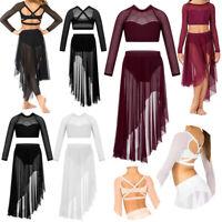 Long Sleeve Dance Dress for Girls Lyrical Ballet Leotard Crop Top+Skirt Costume