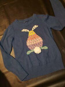 Gap Kids Girls Easter Blue Jacquard Bunny Sweater L 10 Pom Pom Tail