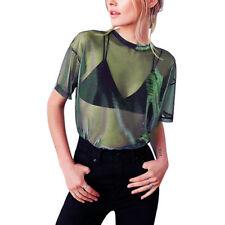 Women Sheer Mesh Fish Net Short Sleeve Turtle Neck See Crop Top T-Shirt Blouse