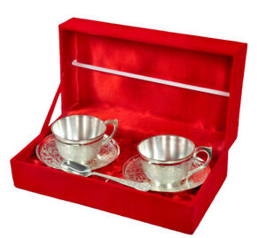 Indian Decorative Silver Plated 2 Cup Plate Set Antique Design Cup set Hinduism