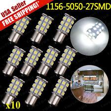 10x White 1156 Ba15s  RV Camper Trailer 27 SMD LED 1141 1003 Interior Light Bulb