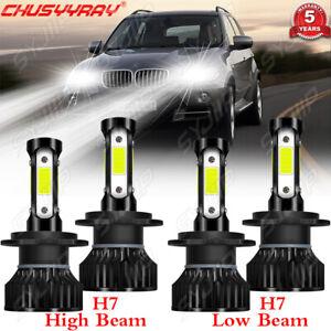 For BMW X3 2011 2012 2013 2014 4x Combo LED Headlight Bulbs Kit Hi Lo Beam 6000K