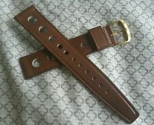 NOS 60's Stylecraft 19mm Vintage Leather Corfam brown Tropic watch strap