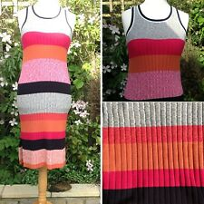 NEXT Bold Striped Knitted Vest Dress Summer Holiday Festival Beach UK12 Casual