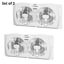 Set of 2 Twin Window Fan Slim Dual Blade Exhaust Indoor Air home Cool Wind Fans
