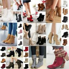Women Winter Buckle Ankle Boots High Heels Zipper Lace Up Martin Boots Shoes