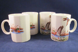 Lot of 4 Vintage Otagiri 12 Sided Mugs Mallard Ducks in a Marsh Japan