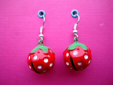 FUNKY RED STRAWBERRY JINGLE BELL EARRINGS CUTE KITSCH RETRO NOVELTY SWEET FRUIT