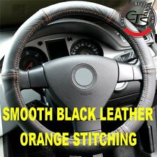 CAR STEERING WHEEL COVER SIZE 37-39cm BLACK LEATHER ORANGE STITCHING