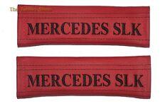"""2x pastillas de cubiertas de cinturón de seguridad de cuero rojo """"Bordado de Mercedes SLK"""" para Mercedes"""