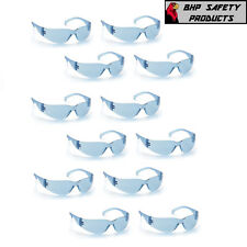 (12 PAIR) PYRAMEX INTRUDER SAFETY GLASSES INFINITY BLUE LENS WORK EYEWEAR S4160S