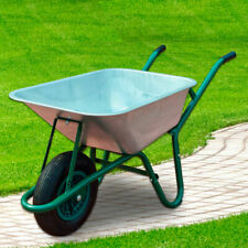 More details for 85l large wheelbarrow home garden cart galvanised with pneumatic tyre 150kg