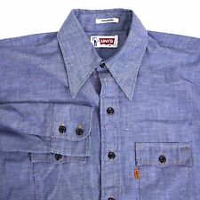 Vintage USA Made Levi's Light Blue Chambray Western Work Shirt Mens S Orange Tab
