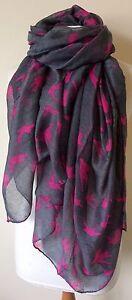 BNWT Dark Grey & Fuchsia Swallow Bird Print 180cm x 110cm Large Scarf Headscarf