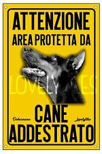 DOBERMANN AREA PROTETTA TARGA ATTENTI AL CANE CARTELLO PVC GIALLO