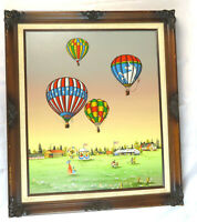 "Carson Signed Original Framed Hot Air Balloon Painting 29"" x 25"" - Nursery Kids"