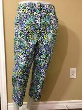 """Kim Rogers Women's Floral """"Shannon Fit"""" Cotton Capri Pants - Size 8 - NWT"""