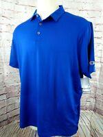 Champion Men Performance Polo Golf Shirt Size 2XL Blue Wicking Short Sleeve New