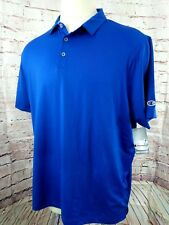 Champion Men Performance Polo Golf Shirt Size 2XL Blue Wicking Short Sleeve New