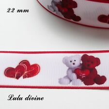 Ruban gros grain blanc liseré rouge Ourson/ Teddy rouge & blanc Valentin 22 mm