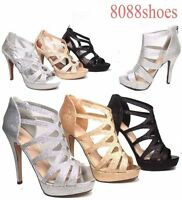 Women's Sexy Glitter Open Toe Strappy Heel  Platform Party Shoes Size 5 - 11 NEW