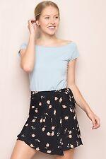 NEW! brandy melvile brown cherry floral ballet wrap mini Genevieve Skirt NWT OS