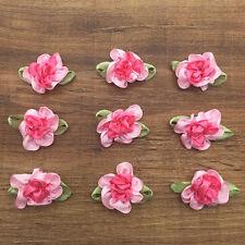 10pcs Pink&Rose Fancy 2 tone Satin Ribbon Flower Leaf Decoration Applique New SS