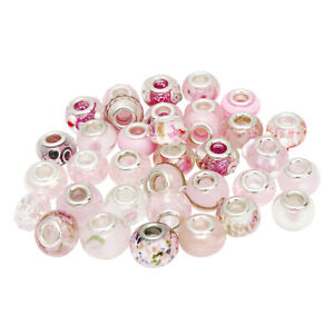 30pcs Mixed Size Glass Pink European Charm Beads for Necklace Bracelet Making