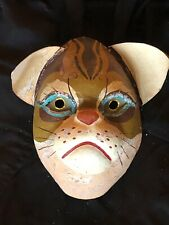 Rare vintage paper mache cat mask, very unusual and unique expression, gold eyes